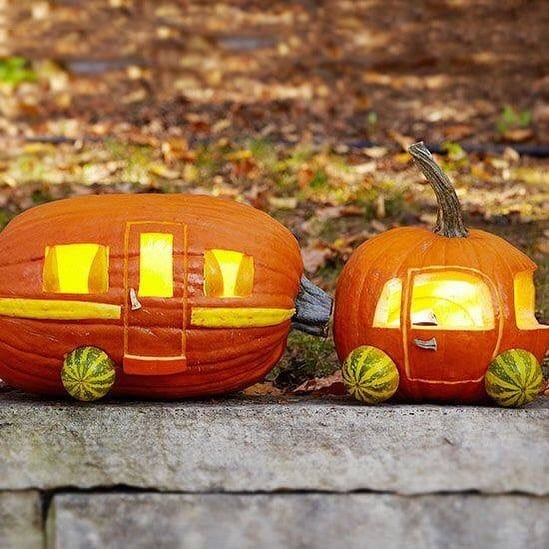 Artsy halloween pumpkin carving