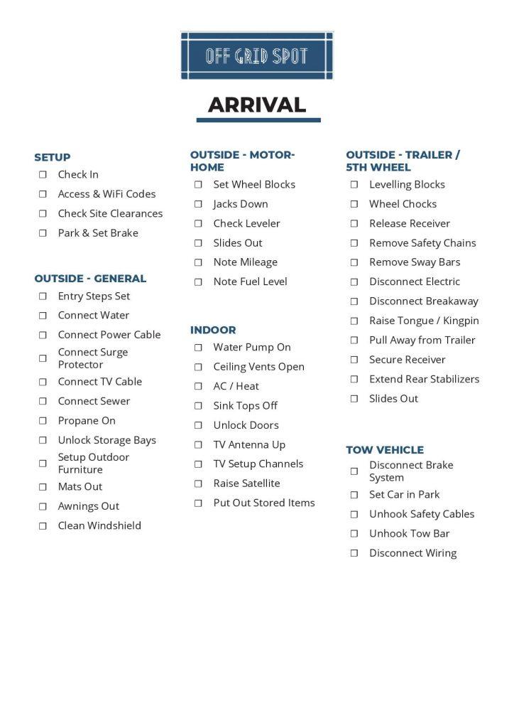 Printable RV Setup Checklist