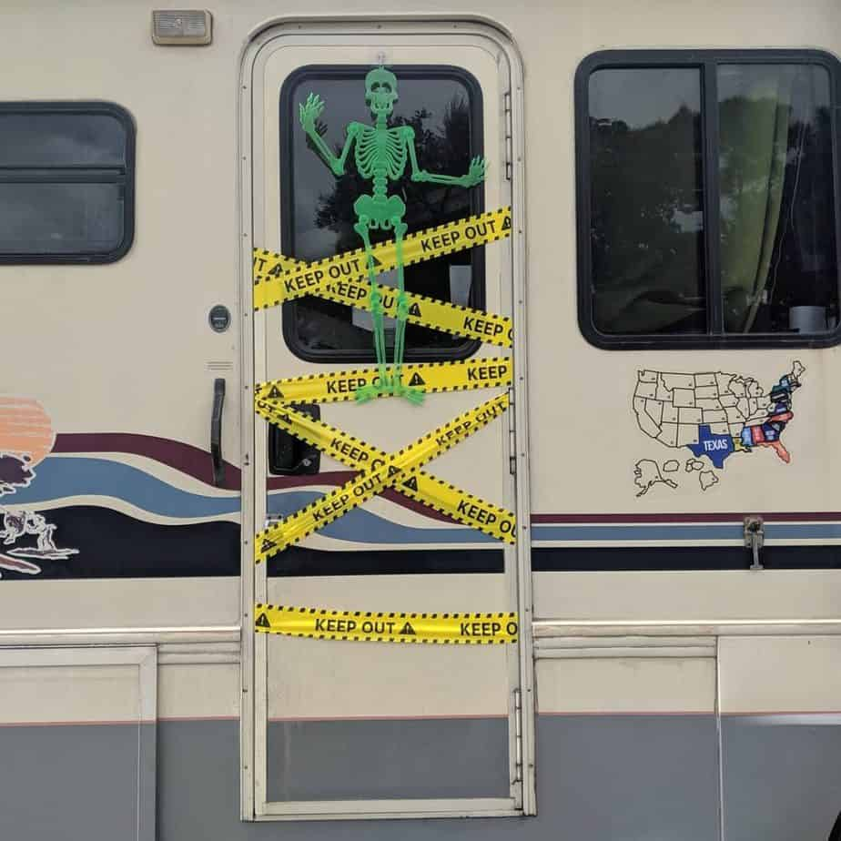 Restricted area RV Halloween decorations